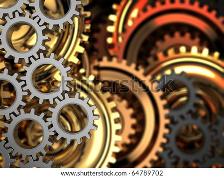 abstract 3d illustration of dark gear wheels background