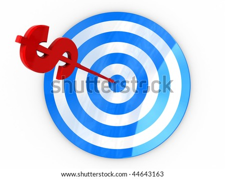 abstract 3d illustration of darts with dollar sign