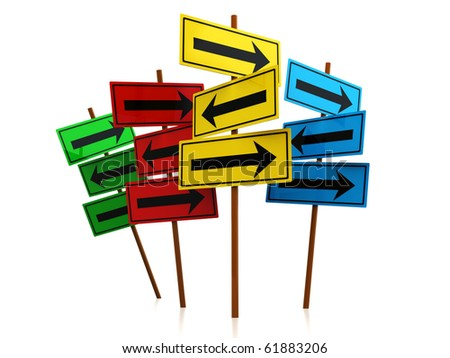 abstract 3d illustration of directions signs over white background - stock photo