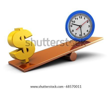 abstract 3d illustration of dollar and clock on scale board - stock photo