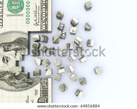 abstract 3d illustration of dollar blocks construction background - stock photo