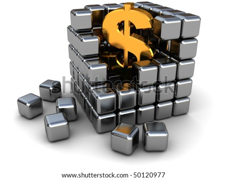 abstract 3d illustration of dollar sign inside metal cube - stock photo