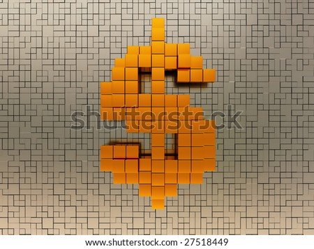 abstract 3d illustration of dollar sign over metal background - stock photo