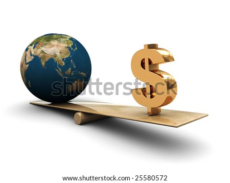 abstract 3d illustration of earth and dollar sign on scale - stock photo