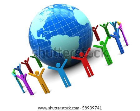 abstract 3d illustration of earth globe and colorful people around - stock photo