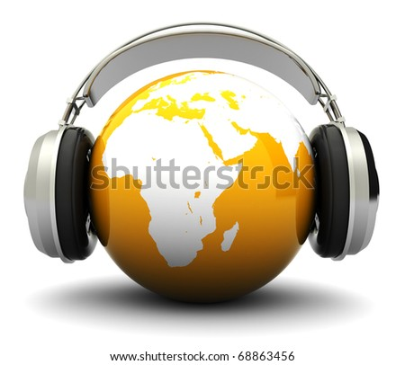 abstract 3d illustration of earth globe and headphones, world music concept - stock photo
