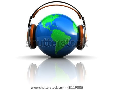 abstract 3d illustration of earth globe in headphones - stock photo