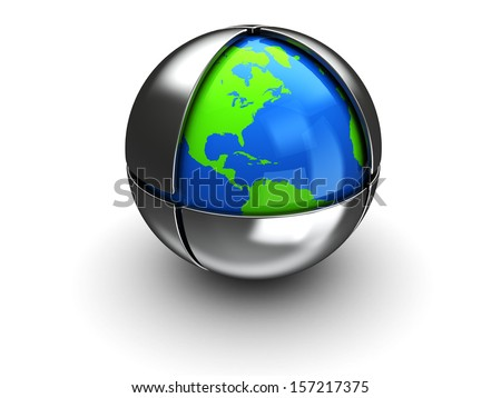 abstract 3d illustration of earth globe inside metal sphere - stock photo