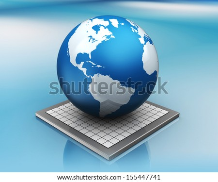 abstract 3d illustration of earth globe over blue background - stock photo