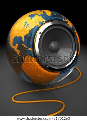 abstract 3d illustration of earth globe with audio speaker inside