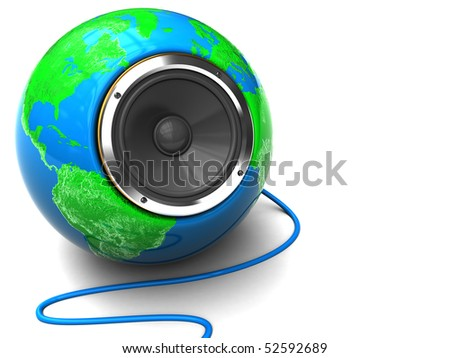 abstract 3d illustration of earth globe with audio speaker inside - stock photo