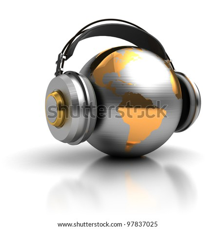 abstract 3d illustration of earth globe with headphones - stock photo
