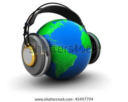 abstract 3d illustration of earth globe with headphones over white background - stock photo