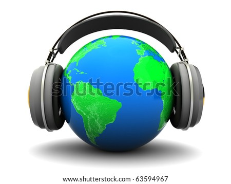 abstract 3d illustration of earth globe with headphones, over white background - stock photo
