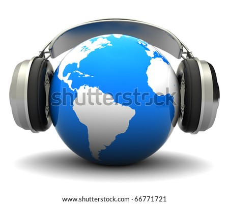 abstract 3d illustration of earth globe with headphones, over white background
