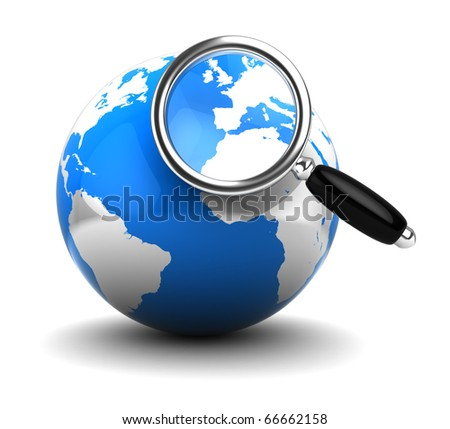 abstract 3d illustration of earth globe with magnify glass - stock photo