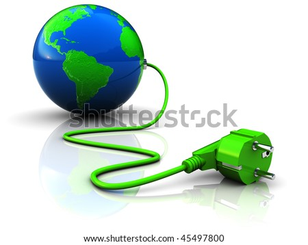 abstract 3d illustration of earth globe with power plug, over white background - stock photo