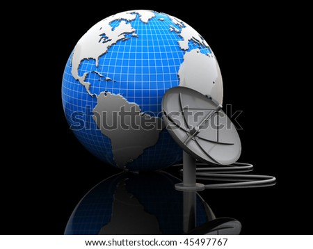 abstract 3d illustration of earth globe with satellite antenna over black background - stock photo