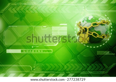 abstract 3d illustration of earth with chains and lock