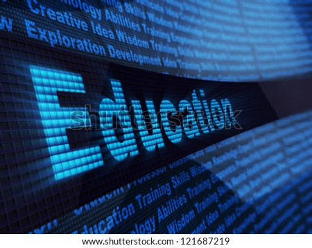 abstract 3d illustration of education sign, over digital blue background