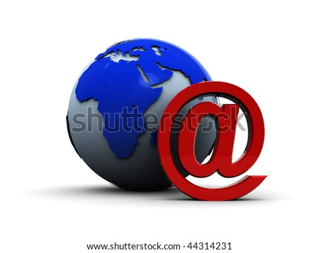 abstract 3d illustration of email sign and earth globe