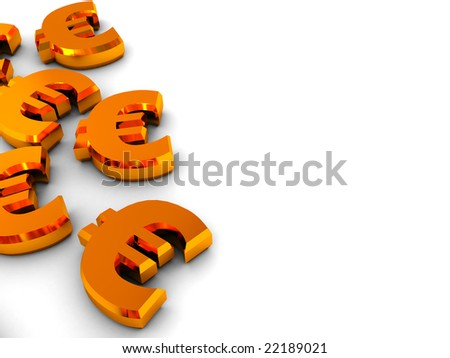 abstract 3d illustration of euro signs over white background - stock photo