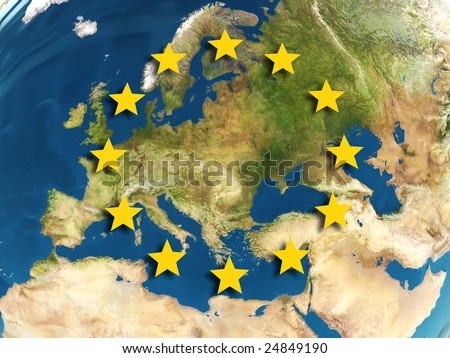 abstract 3d illustration of european union map and symbol
