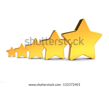 abstract 3d illustration of five golden stars, rating concept