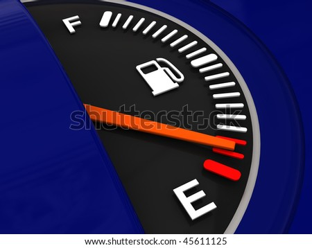 abstract 3d illustration of fuel meter and blue plastic panel