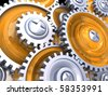 abstract 3d illustration of gear wheels - stock photo