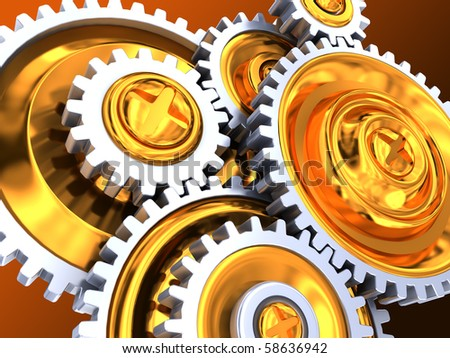 abstract 3d illustration of gear wheels background - stock photo