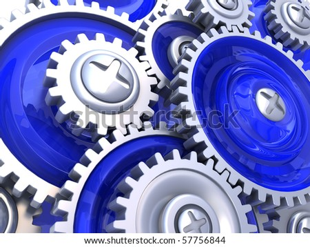 abstract 3d illustration of gear wheels background, blue colors - stock photo