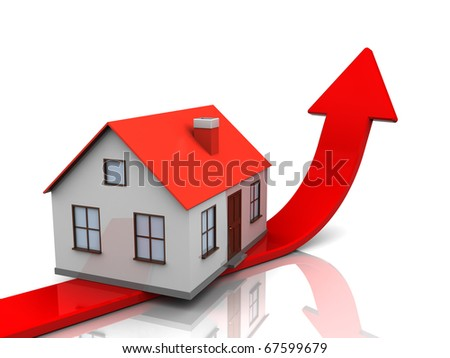 abstract 3d illustration of generic house and red arrow, real estate price metaphor - stock photo