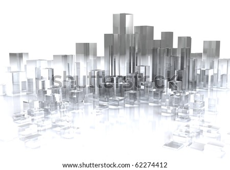abstract 3d illustration of glass city over white background - stock photo