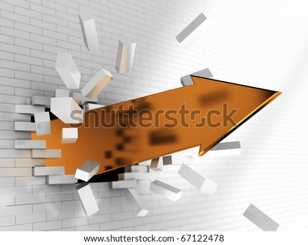 abstract 3d illustration of golden arrow breaking brick wall - stock photo