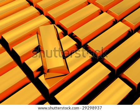 abstract 3d illustration of golden bricks background - stock photo