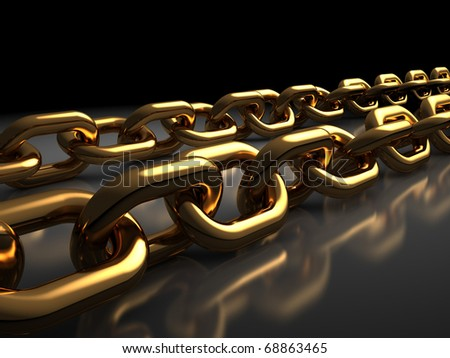 abstract 3d illustration of golden chains over black background - stock photo