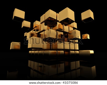 abstract 3d illustration of golden cube structure over black background - stock photo