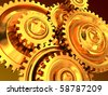 abstract 3d illustration of golden gear wheels background - stock vector