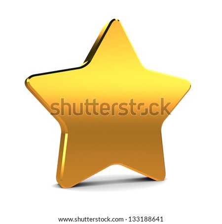 abstract 3d illustration of golden star over white background
