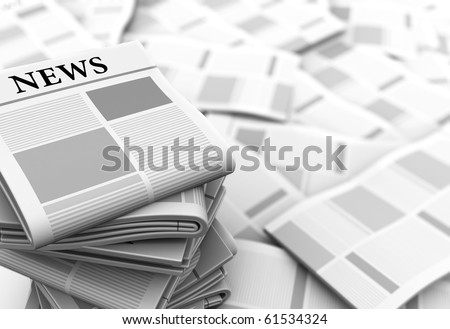 abstract 3d illustration of gray newspapers background - stock photo