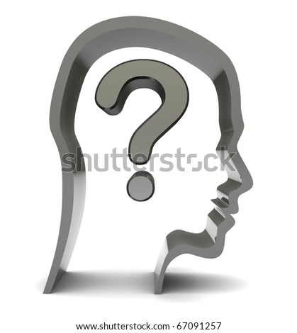 abstract 3d illustration of head silhouette with question mark inside