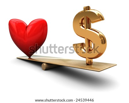 abstract 3d illustration of heart and dollar sign on board scale - stock photo