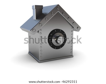 abstract 3d illustration of home safe symbol over white background - stock photo