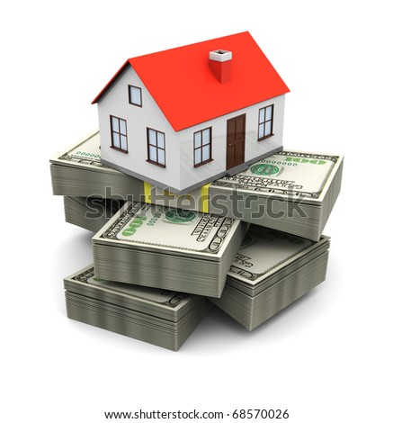 abstract 3d illustration of house on money stack, real estate business concept - stock photo