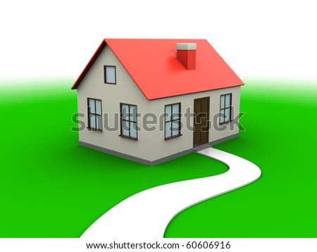 abstract 3d illustration of house over green meadow and white background - stock photo