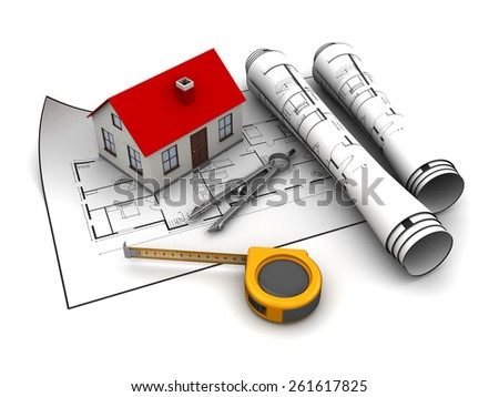 abstract 3d illustration of house planning concept - stock photo