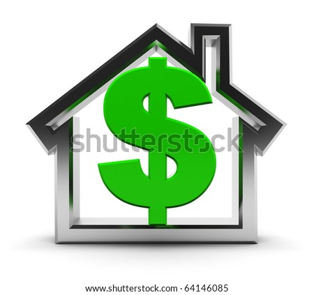 abstract 3d illustration of house symbol with dollar sign inside - stock photo