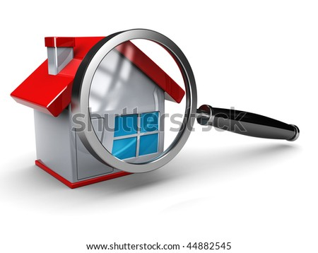 abstract 3d illustration of house with magnify glass - stock photo