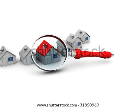 abstract 3d illustration of houses and magnify glass - stock photo